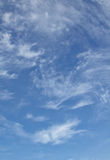 White clouds and blue sky. Cloud, sky, soft, air, blue, atmosphere backdrop background calm calmness clear day fly fresh heaven high light natural outdoor Stock Image