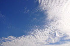 White clouds on the blue sky. White clouds on the  dark blue sky Royalty Free Stock Images
