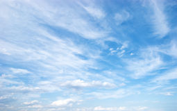 White clouds on blue sky. Day. Royalty Free Stock Image