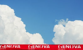 White clouds and blue sky in genova. White on red banner genoa with blue sky and white fluffy clouds, travel background Stock Images