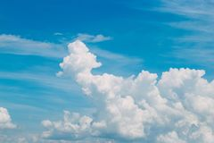 White clouds in the blue sky. Landscape of clouds above the ground stock photo
