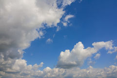 White clouds in the blue sky. Some cumulus clouds in the sky above duesseldorf Royalty Free Stock Images