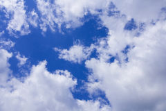 White clouds in the blue sky. Some cumulus clouds in the sky above duesseldorf Stock Photo