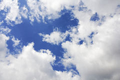 White clouds in the blue sky. Some cumulus clouds in the sky above duesseldorf Stock Image