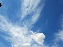 White clouds in a Blue Sky of the Spring season. Sense of Big calm, Light colors and immensity royalty free stock image