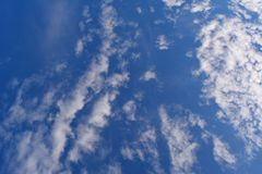 White clouds in blue sky. Summer cloudscape.  stock photography