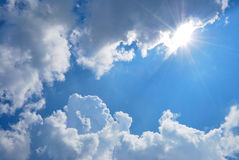 White clouds, blue sky Stock Image