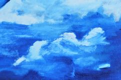 White clouds on canvas painted in blue. Watercolor picture, texture, background, wallpaper Vector Illustration
