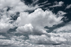 White clouds on dark blue sky background Stock Image