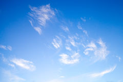 White clouds in deep blue sky, natural photo Royalty Free Stock Photography