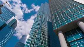 White clouds flying over skyscrapers Moscow City stock footage