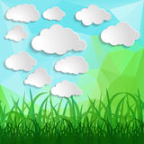 White clouds with grass silhouettes on a Natural green abstract. Triangle Polygonal Background Stock Illustration