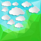 White clouds on a green abstract Triangle Polygonal Back Royalty Free Stock Photography