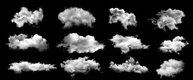 White clouds isolated on black background.