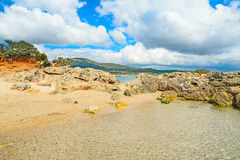 White clouds over Alghero shoreline Royalty Free Stock Photos