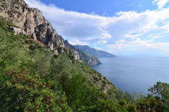 White Clouds Over the Amalfi Coast in Italy Stock Images