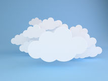 White clouds over blue. 3D render of abstract background of white clouds over blue stock illustration