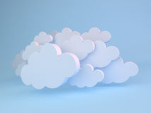 White clouds over blue. 3D render of abstract background of white clouds over blue vector illustration