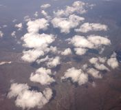 White clouds over land. An aerial photo,of white clouds over a greek town thessaloniki,in a summer day Stock Images