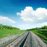 White clouds over railroad Royalty Free Stock Photos