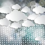 White clouds and rain drops in the blue sky with twinkle lights. On the chequered background vector illustration