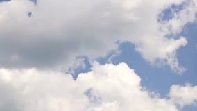 White clouds run in blue sky stock video