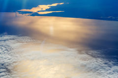 White clouds in the sky aerial view sea Royalty Free Stock Image