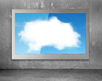 White clouds sky image on wide flat TV screen Stock Image