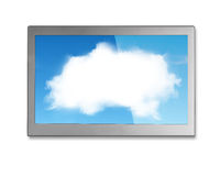 White clouds sky image on wide flat TV screen Stock Photo