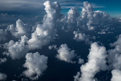 White clouds and sky, view from airplane Royalty Free Stock Photos