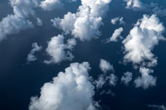 White clouds and sky, view from airplane Royalty Free Stock Images