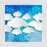 White clouds with snowflakes on the Abstract blue geometric back Royalty Free Stock Image