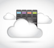 White clouds and storage towers illustration Stock Images