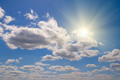 White clouds and sun Royalty Free Stock Photography