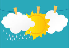 White clouds and sun hang on a rope with clothespins. Vector. Stock Image
