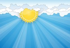 White clouds and Sun over blue sky Royalty Free Stock Photos
