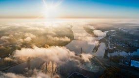 White Clouds Through the Sun Scenery Stock Photos