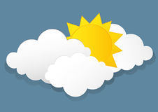 White clouds and sun. Vector. Free space for text or advertising Stock Image