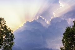 White clouds sunlight beams vietnam Royalty Free Stock Images