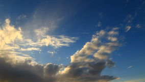 White clouds timelapse. Sunset time with blue sky and white clouds timelapse stock video
