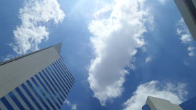 White clouds under blue sky on the warmest noon in Thailand. White clouds in warnedt day Royalty Free Stock Photo