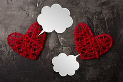 White clouds for Valentine`s day comics. Communication between two hearts. Place for your text. Copy space. 1 Royalty Free Stock Images