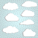 White clouds. Vector illustration of white clouds in polka background stock illustration
