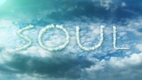 White clouds and word soul. Blue background with white clouds and word soul vector illustration