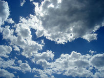 White cloudscape in blue sky Stock Photos