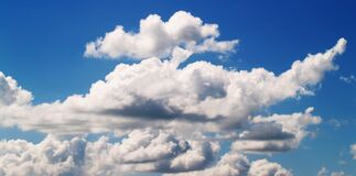 White Cloudy Blue Sky at Daytime stock photo