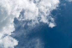 White cloudy and blue sky,. Summer season Stock Photography