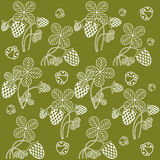 White clover on khaki background. White openwork clover and the little ladybug on a khaki background Royalty Free Stock Images