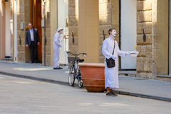 White clowns on the street in Florence, Italy Stock Images