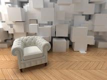 White club armchair on modern. White club armchair on a modern interior royalty free illustration